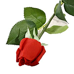 Miao Express 10pcs 11pcs/Lot Latex Rose Artificial Flowers Real Touch Rose Flowers for New Year Home Wedding Decoration Party Birthday Gift,C red 3,10pcs 79