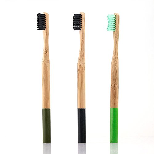 Cheap HailiCare Charcoal Bamboo Toothbrush - Pack of 3 Colors - Adults Size - Bamboo Charcoal Infused Bristles (Medium Bristle) hot sale