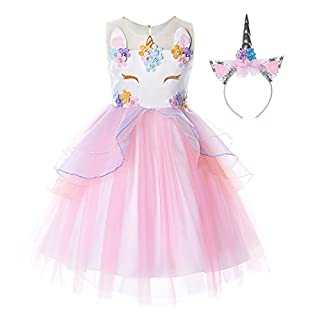 JerrisApparel Flower Girls Unicorn Costume Pageant Princess Party Dress (8-9 Years, Pink)