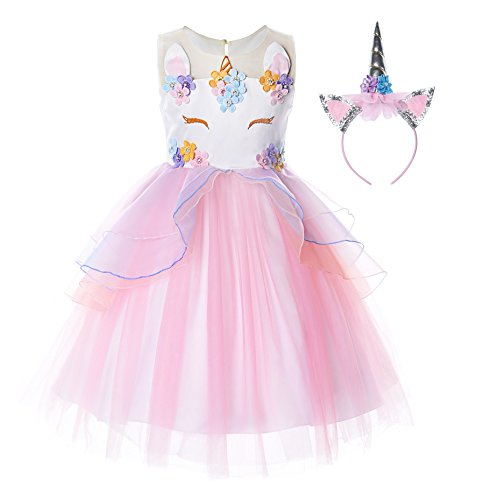 JerrisApparel Flower Girls Unicorn Costume Pageant Princess Party Dress (8-9 Years, Pink) -