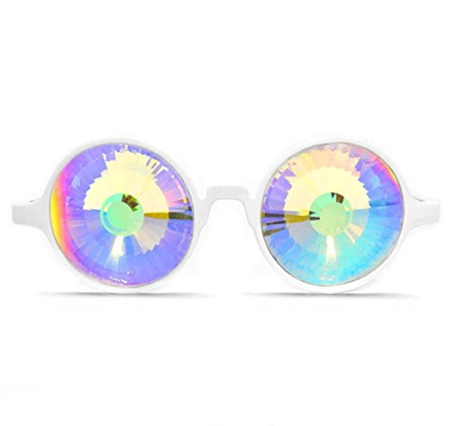 White Kaleidoscope Glasses - Rainbow Wormhole Crystal Lens Portal - Made in the USA
