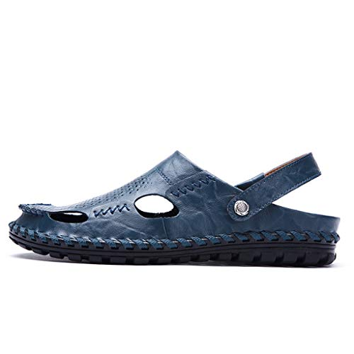 Leather Sandals for Men 2019 New Casual Lightweight Hiking Beach Water Shoes (US:7, Blue 2)
