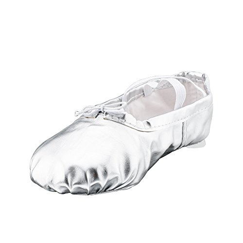 Girl's Pu Ballet Dancing Shoes with Split Soft Sole,Silver,Toddler 8M US (Ballet Dancing Costume)