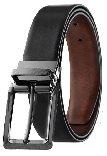 Classic Leather Black Belt - Men's Reversible Classic Dress Belt Italian Top Grain Leather Black & Brown Rotating Buckle (Marble Design, Size 42