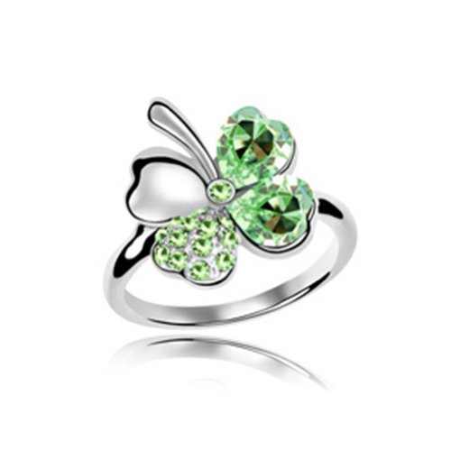 Mondaynoon-Swarovski-Elements-Austrian-Crystal-Rings-Sweet-Four-Leaf-Size7-8ColorOlive