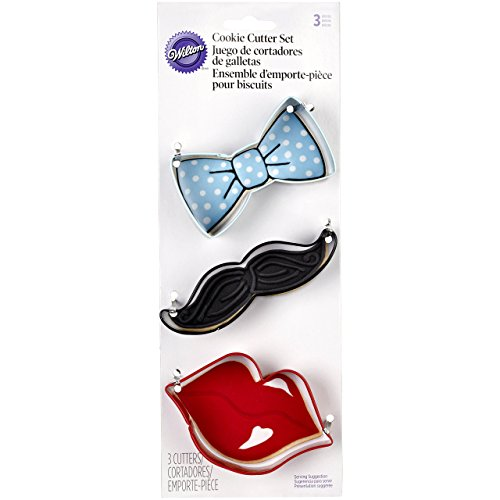 Wilton 2308-0900 3-Piece Cookie Cutters, Tie/Mustache/Lips ()