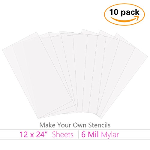 10 Pack 6 Mil 12 x 24 inch Blank Stencil Sheets Mylar Material JINSEY Make Your Own Stencil Ideal Use Compatible Cricut /& Silhouette Machines