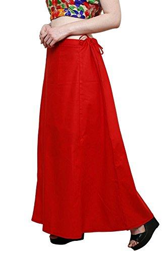 Aurielle Rogisse Mujer India Sari Algodón Enagua Bollywood Solid Inskirt Costuras Forro Enaguas Red