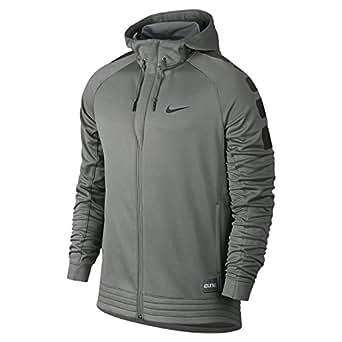 Men's Nike Elite Stripe Basketball Hoodie Tumbled Grey/Deep Pewter/Black Size Small