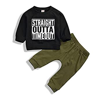 Mini honey Newborn Toddler Baby Boys Letter Sweatshirt Long Sleeve Tops + Olive Pants Casual Outfit Sets