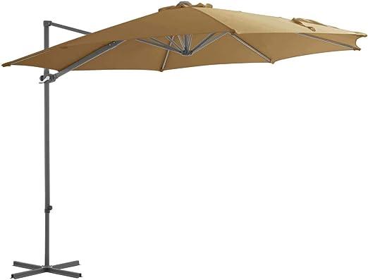 vidaXL Sombrilla Voladiza Poste Acero 300 cm Gris Topo Parasol Jardín Toldo: Amazon.es: Hogar