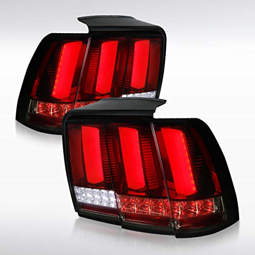 Autozensation For Ford Mustang Red&Smoke Sequential Turn Signal LED Tail Lights Brake Lamps Pair (Tail 2001 Cobra Lights)