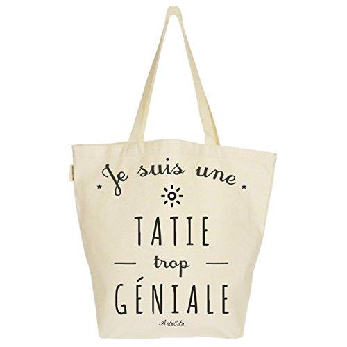 géniale Bio Sac Bag tatie Cabas Toile trop Fourre Tote Grand tout 37x45x20cm Imprimé Une XL UF6CdxcS