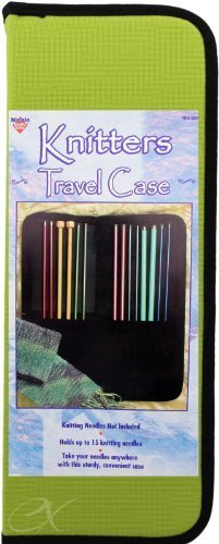 Knitters Travel Case Holds up to 15 Knitting Needles Zippered Case, Colors May ()