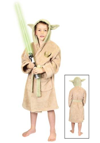 Star Wars Yoda Costume Bath Robe Boys Size (Large/Cream)