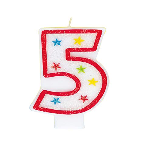 Glitter Number 5 Birthday Candle & Happy Birthday Cake Topper
