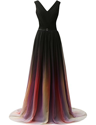 JAEDEN Gradient Chiffon Formal Evening Dresses Long Party Prom Gown Black Two US28W