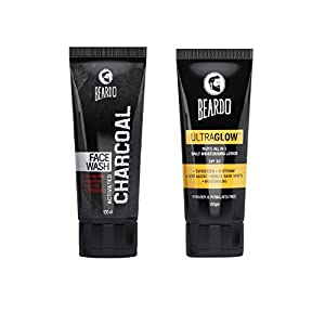Beardo Activated Charcoal Face Wash, and BEARDO Ultraglow Face Lotion for Men, Combo