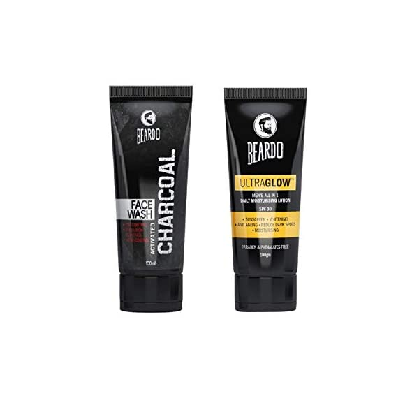 Beardo Charcoal Face Wash and BEARDO Ultraglow Face Lotion for Men