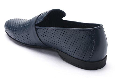 Versace Collectie Heren Laser Gesneden Leer Medusa Loafers Marine