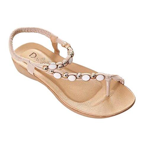 YOUJIA Damen Böhmen Flip Flop Schuhe Strass Wulstige Flache Thong Sandalen Beige 36