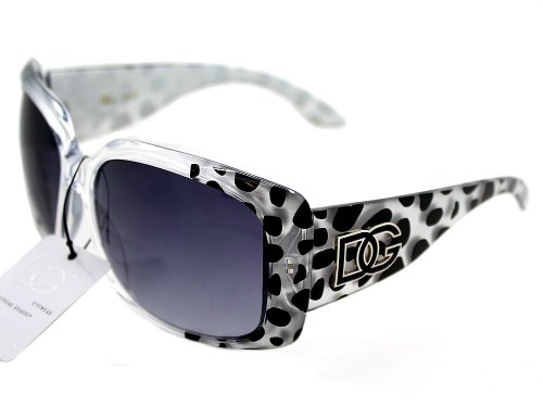 DG Eyewear Women's Sunglasses with SILVER BLACK LEOPARD Animal Design Shades Lens Fashion Style [WCAA39]