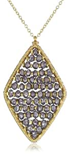 Dana Kellin Plum Quartz and Gold Fish Bone Pattern Diamond Shaped Necklace