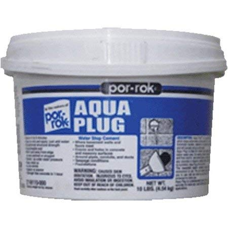 Por-Rok Aqua Plug Water Stopping Cement Instant Setting for Concrete & Masonry Surfaces 10 LB Pail - Swimming Pools - Showers - Chimey's - Floors - Drains by CGM