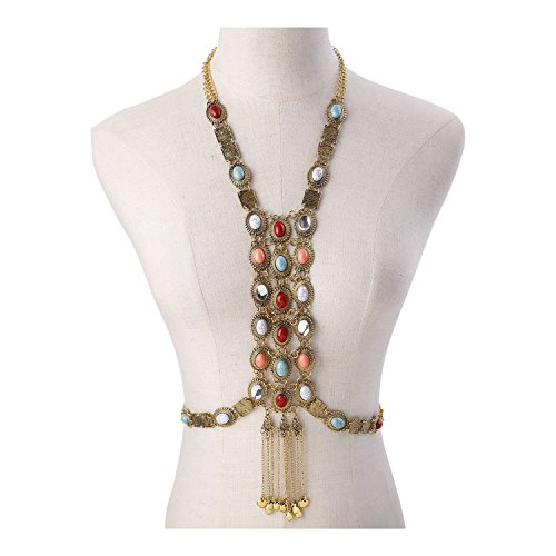 Body Fringe (Paxuan Womens Antique Silver/Gold Alloy Vintage Boho Bohemia Colorful Turquoise Coral Necklace Body Chain Ethnic Tribal Beaded Fringe Statement Necklace Body Chain Jewelry (Antique Gold))