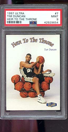 1997-98 Fleer Ultra Heir To The Throne #7 Tim Duncan ROOKIE RC PSA 9 Graded Card - Basketball Slabbed Rookie Cards from Sports Memorabilia