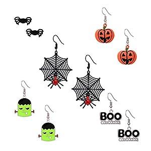 MOLOCH Halloween Earrings Set 5 Pairs Stud Drop Earrings Spider Web Pumpkin Frankenstein Boo Dangle Stud Earring Set for Women Girls