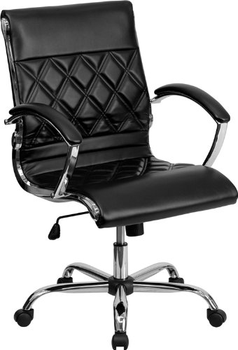 mid-back-designer-black-leather-executive-swivel-office-chair-with-chrome-base