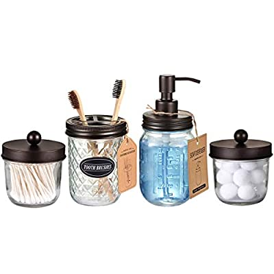 Mason Jar Bathroom Accessories Set(4 Pack) -Bronze-Lotion Soap Dispenser&Qtip Holder Set&Toothbrush Holder-Rustic Farmhouse Decor Apothecary Jar Bathroom Countertop,Vanity Organize (Bronze) - LUXURY BATHROOM ACCESSORY SET - 4 piece farmhouse rustic decor design mason jar bathroom set, perfect for any bathroom vanities or kitchen sink.All the Mason Jar Pump and lids are made from heavy duty,Premium Food Grade Stainless Steel,100% making them out of rust and corrosion resistant. LOTION SOAP DISPENSER - This is super durable and sturdy 16 Oz Pint regular mouth glass pint mason jar.The bronze pump is able to handle thick liquids like dense conditioner, liquid soap, dish soap, Lotions, etc.The dip tube and interior parts are BPA-free.The pump contains a leak-proof gasket that does not leak out even if the bottle is tilted.Reusable, refillable,eco-friendly to the environment as well as your budget. DECORATIVE QTIP HOLDER - This wide mouth mason jar qtip holder adds the perfect rustic charm to your bath-room.Wide mouth is easy to access the items inside, easy to open.The mason storage jars are great for cotton swabs, q-tips, cotton balls, cotton rounds,hair bands or any other bathroom necessities and accessories - bathroom-accessory-sets, bathroom-accessories, bathroom - 41DoWe5THRL. SS400  -