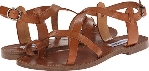 Steve Madden Women's Agathist Gladiator Sandal, Cognac Leather, 7.5 M US (Sandals Leather Brown)