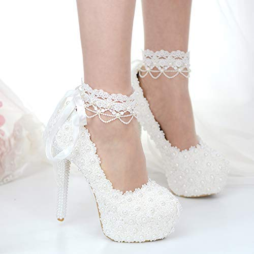 Amazon Com Plus Size High Heel White Pearls Wedding Shoes Woman