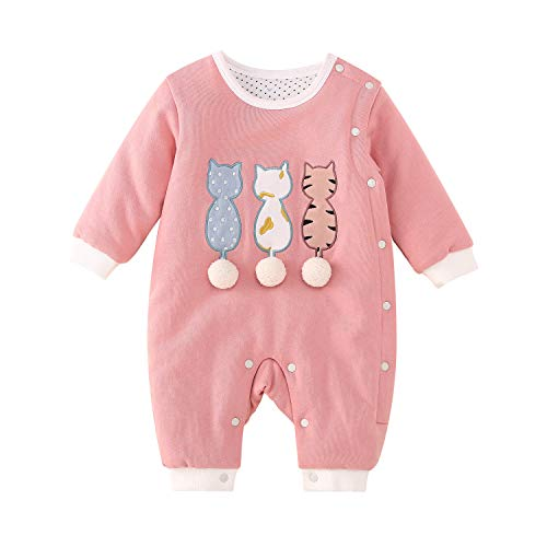 pureborn Infant Coveralls Cartoon Cat Baby Thicken Romper Boys Girls Winter Sowsuit Playsuit Outfit Pink 9-12 Months