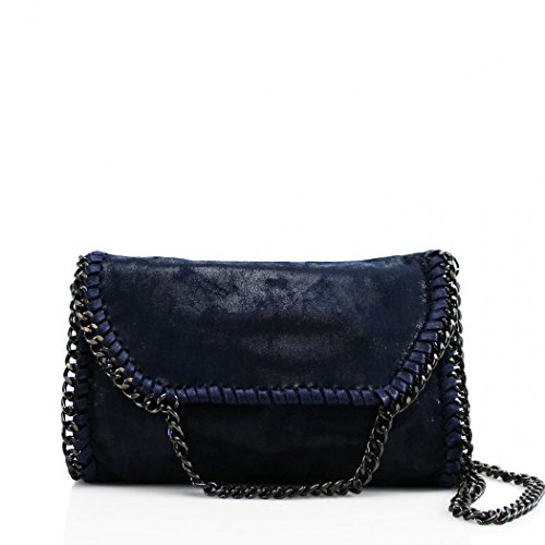LeahWard? Women's Chain Trim Bags Faux Leather Cross Body Bags For Women Party Handbags CW932 Navy Cross Body