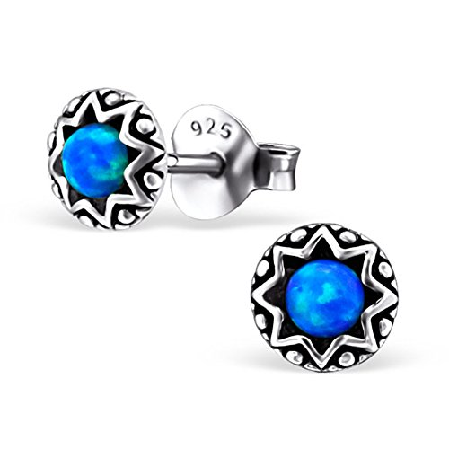 Tiny Round Star Blue Lab Created Opal Silver Earrings Vintage Antique Style Stering Silver 925 Post Studs (E23673) (Pacific Blue)