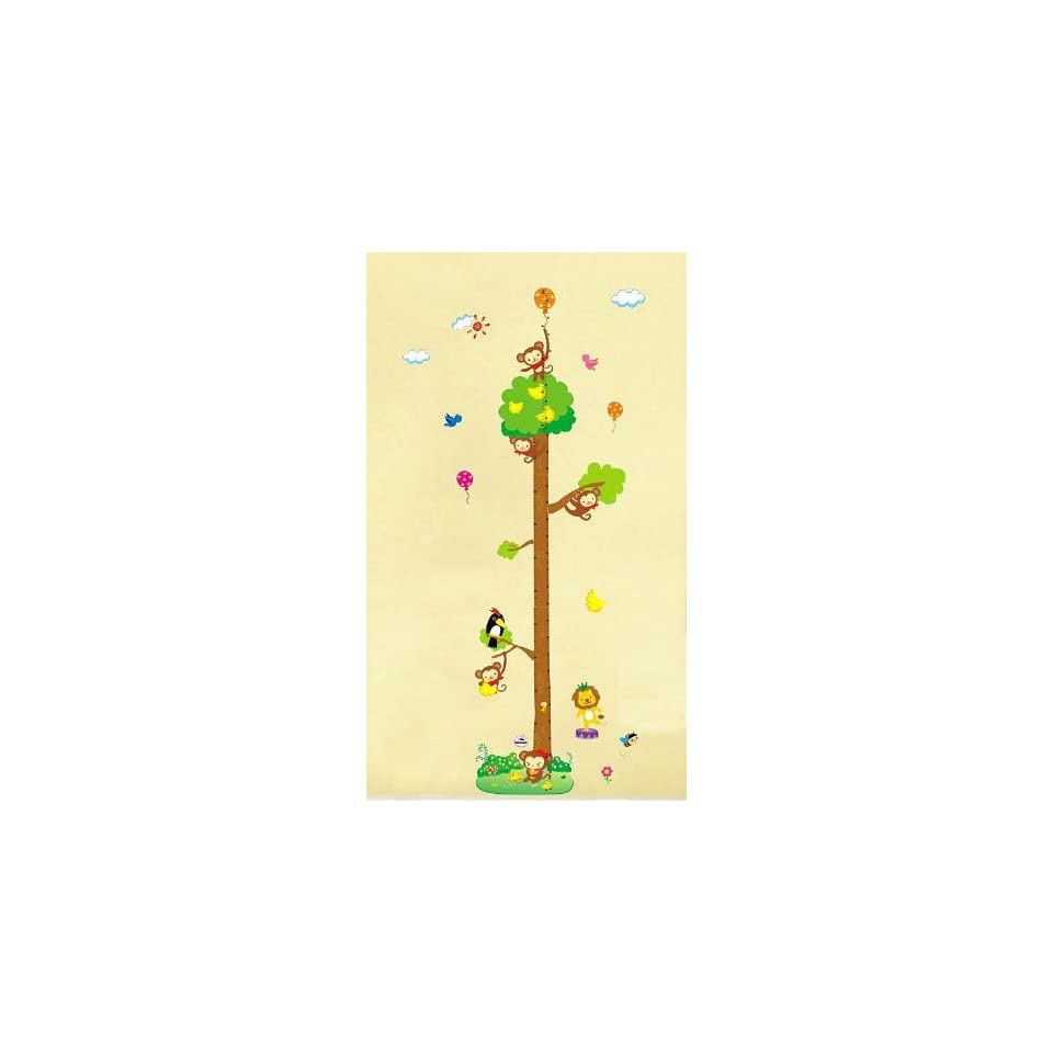 Jungle animals wall decal for nursery bedroom cartoon monkey on tree Height Chart (20cm 170cm) Wall Sticker Decor Removable walpaper for baby kids children playroom
