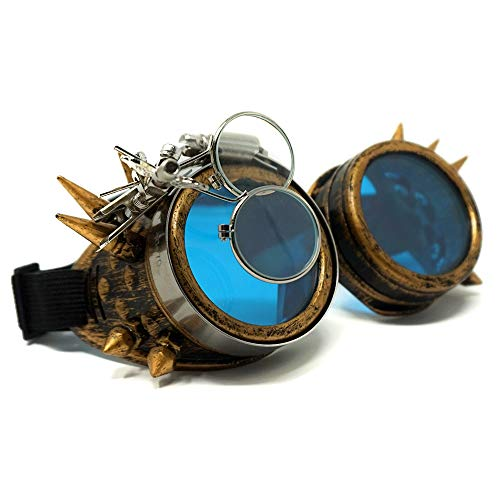 Colonel Pickles Novelties Steampunk Goggles - Glasses with Blue Lenses As Accessories Or Sunglasses -