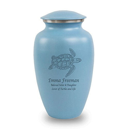 OneWorld Memorials Sea Turtle Aluminum Cremation Urn - Large - Holds Up To 200 Cubic Inches of Ashes - Blue Turtles With Engraving Urns for Human Ashes - Custom Engraving ()