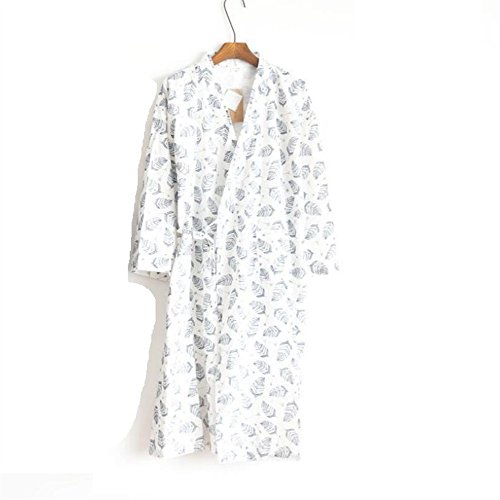 Accappatoio Cotton White Summer Uomo Foglie Cardigan Militare Motivo Touch Ddoq Soft Da Marina Pigiama Large Zw6qx0Zvf