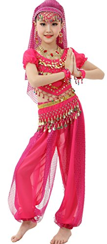 Astage Girls Short Sleeve Dancewear Gift Costume All Accessories Hotpink L(52.5in-56) - Galabeya Belly Dance Costume