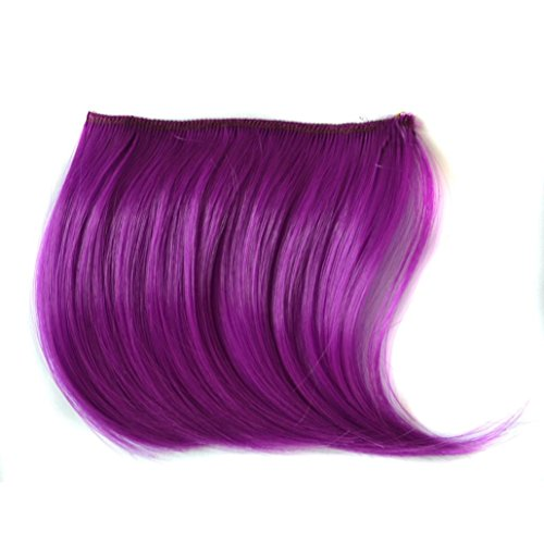 Wig for Women, jinjiu 1PC Ultra Thin One Piece Clip in Hair Bangs Fringe Hairpieces Hair Extensions Party Wigs (Purple)