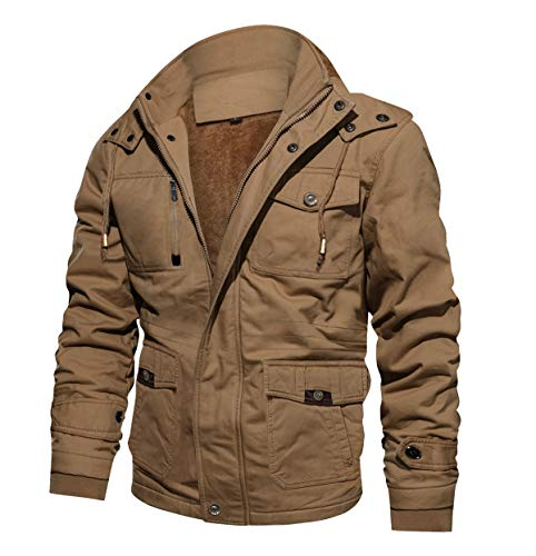 CRYSULLY Men's Fall Fashion Long Sleeve Lightweight Cargo Jacket Military Front Zip Coat Jacket Khaki/US L/tag4XL