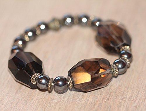 Quartz Stack (Healing Hematite with Large Faceted Smoky Quartz Crystals - Yoga Inspired Stack Bracelet)