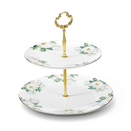 Panbado Bone China 2 Tier Porcelain Cake Stand 8