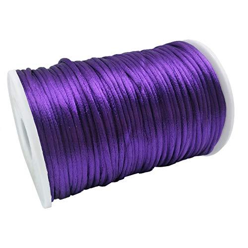 FQTANJU Purple 2mm x 100 Yards Satin Nylon Trim Cord, Rattail, Chinese Knot, Kumihimo, Premium Quality