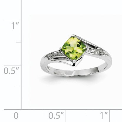 (14k 0.81ct White Gold Diamond & Peridot Cushion Gemstone Trillion Ring (Color H-I, Clarity SI2-I1))