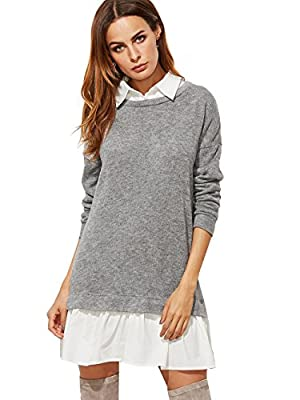 SheIn Women's Contrast Collar and Hem Color Block 2 In 1 Basic Sweater Dress